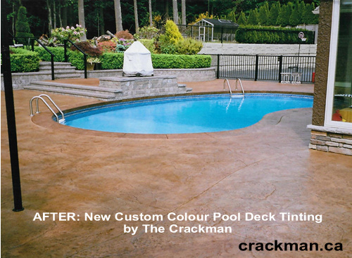 The Crackman's custom concrete colour tint really brings to life this swimming pool
