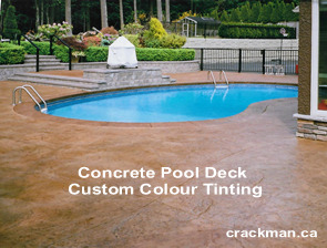 We specialize in custom colour tinting of all stamped concrete including concrete swimming pool decks...