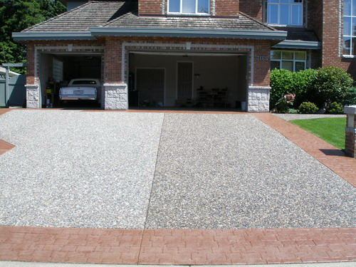 The Crackman custom tints your concrete driveway